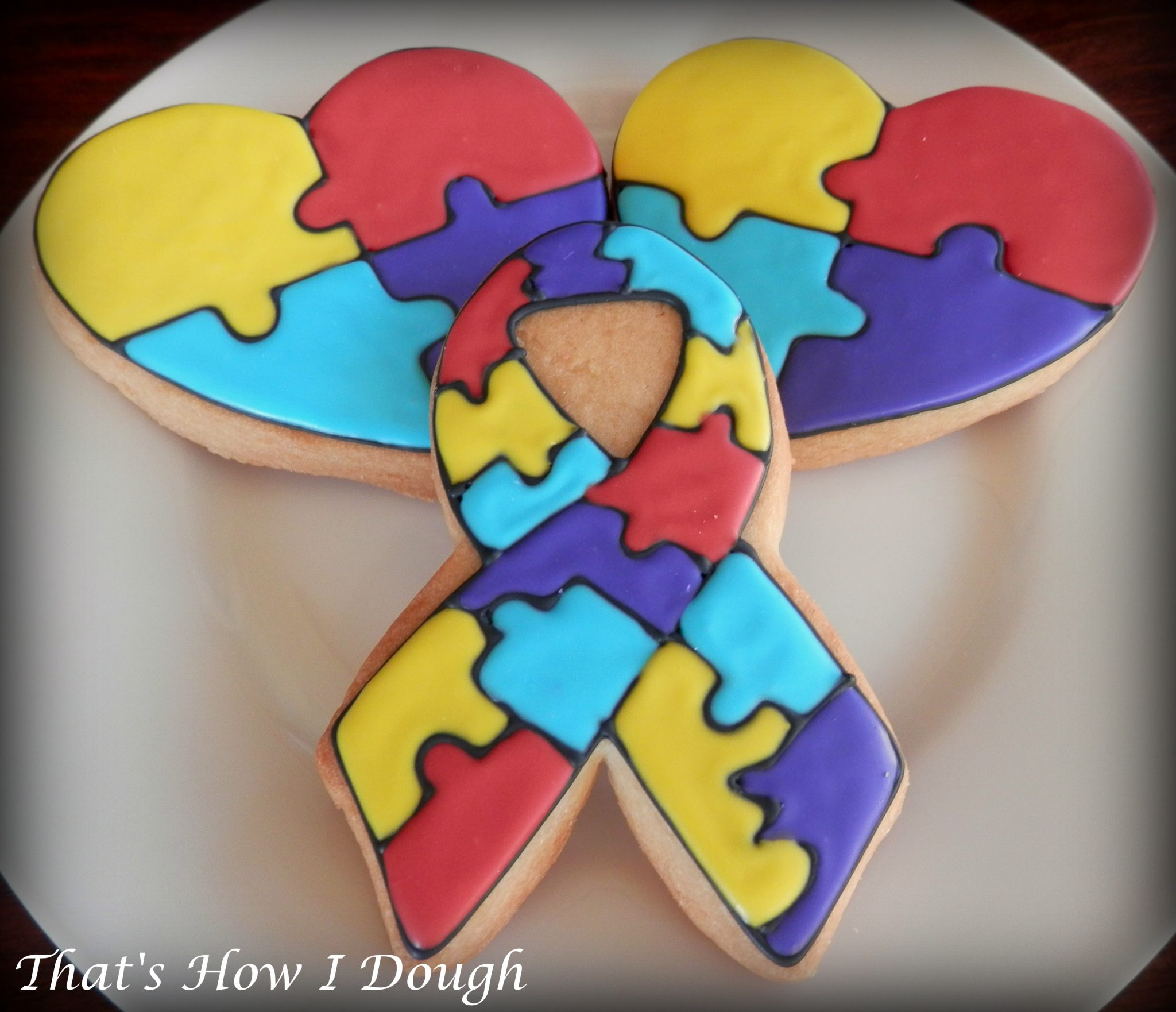 Autism awareness cookies thats how i dough autism puzzle pieces are used as a symbol to reflect the complexity and mystery of the autism spectrum disorderdue to the fact different people are biocorpaavc